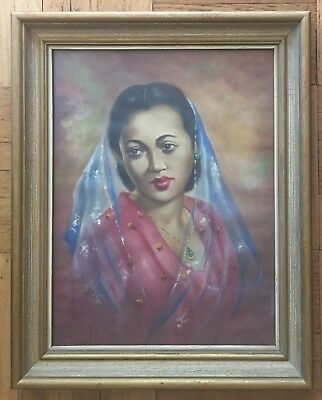 Vintage Lovely Indian Woman Portrait- Original Oil Painting On Canvas Laid Board