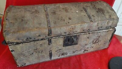 Rare Revolutionary War Era Officer's Style Camp Truck -Hide Cover -Iron Fittings