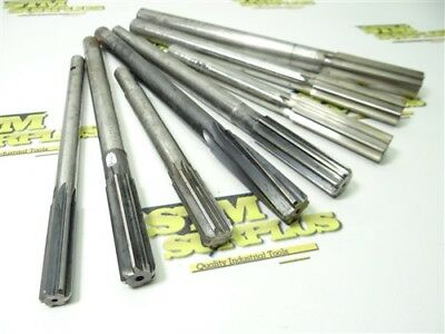 """Lot Of 8 Hss Reduced & Straight Shank Reamers 17/32"""" To 27/32"""" Morse Utd W&b"""