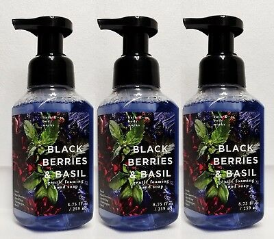 3 Bath Body Works BLACKBERRIES & BASIL Gentle Foaming Hand Soap