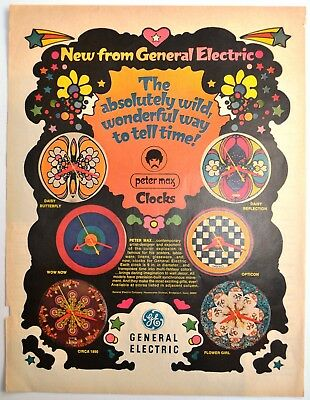 1968 PETER MAX - Psychedelic Clocks - GENERAL ELECTRIC Art - VINTAGE AD