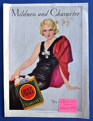 1933 AMERICAN TOBACCO CO, LUCKY STRIKE CIGARETTES Mildness and Character