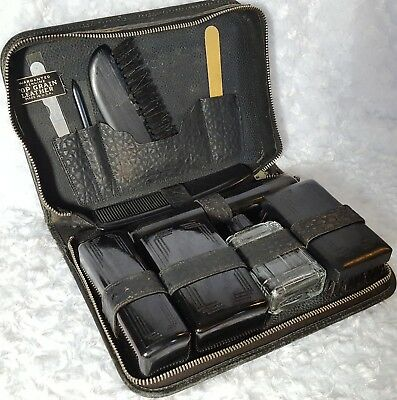 Vtg 1930s ART DECO Black LEATHER MENs Travel TOILETRY Case-Shave KIT-Bag 10 Pc
