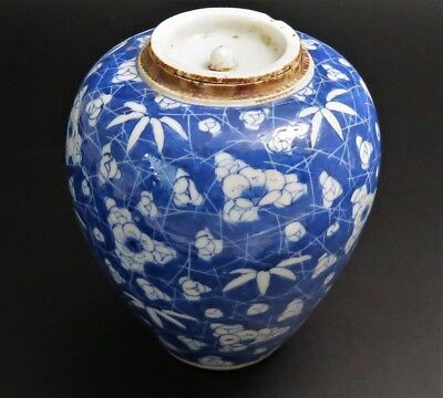 Antique JAPANESE Fine Blue White Cracked Ice Prunus PORCELAIN Jar