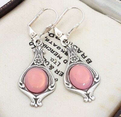 Vintage - 1950s CZECH Pink Glass Opaline Cabochon Art Nouveau Style Earrings