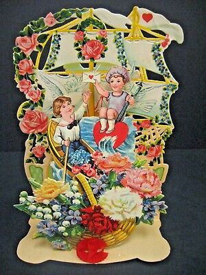 Antique Victorian Embossed Diecut fold out Standup Valentine card Sailboat SHIP