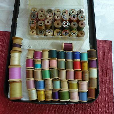 70 Antique Wood Wooden Sewing Thread Spools w/thread Assorted Colors ESTATE