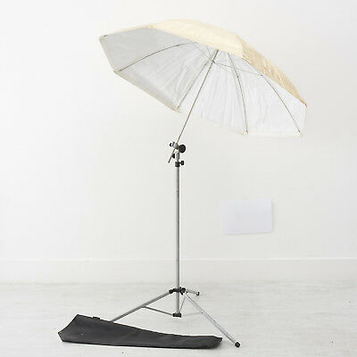 COURTNEY GOLD/WHITE UMBRELLA WITH STAND AND BRACKET 50cm-230cm high