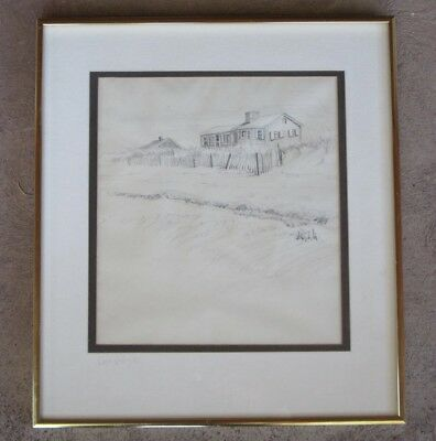 CAPE COD 1968 DRAWING of BEACH COTTAGES, MYSTERY ARTIST, SIGNED
