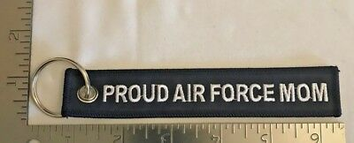 "U.s. Air Force ""proud Air Force Mom"" Embroidered Military Key Fob Chain Fb5"