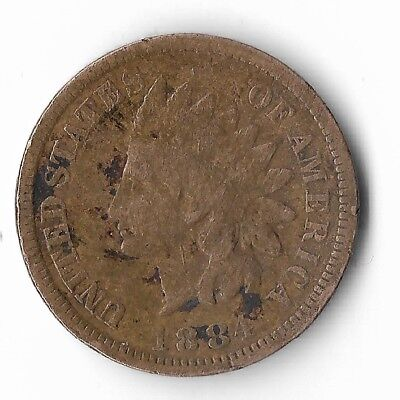 Rare Very Old Antique Collectible US 1884 Indian Head Penny USA Coin Collection