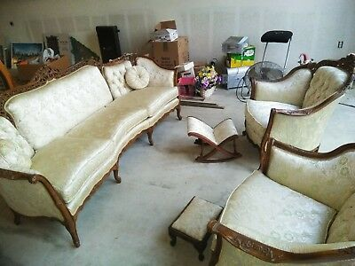 Victorian parlor set hand carved Rocco style sofa