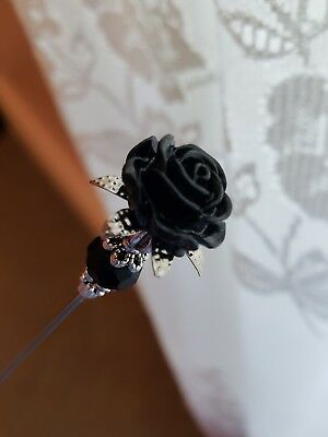Victorian Hat Pin Vintage Inspired Mourning Black Rose Bead Antique Silver