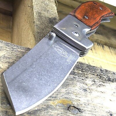 "7.75"" Buckshot Stonewashed Razor Style Wood Spring Assisted Folding Pocket Knife"