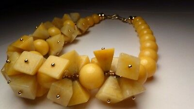 """Vtg Large Chunky Yellow Jade Sterling Silver Cluster Pyramid Stone Necklace 18"""""""