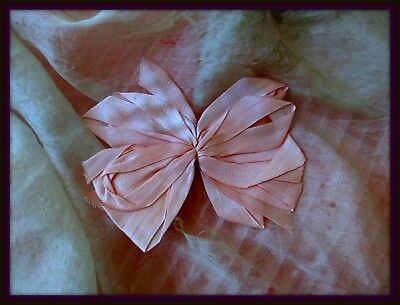 Antique French Quality Shimmering Pale Rosy Pink Silk Ribbon Bow Applique Trim