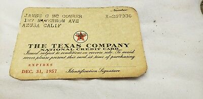 The Texas Company/Texaco 1957 Vintage Collectors Credit Card - Azusa California