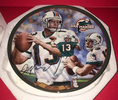 2000 Bradford Exchange Plate DAN MARINO, Dolphins - All-Time NFL Passing Leader