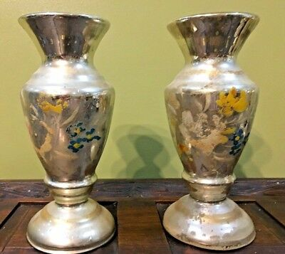 PAIR OF Antique Mercury Glass Flowered hand painted floral candle holder Lovely