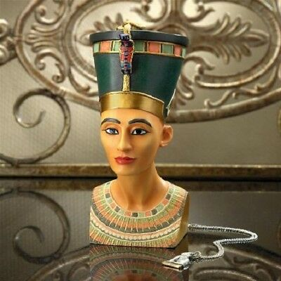 Royal Egyptian Queen Nefertiti Magnetic Crown Trinket Treasure Box Sculpture New