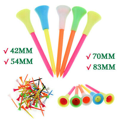 50 pcs High Quality Multi Color 83 mm Plastic Golf Tees With Rubber Cushion Top