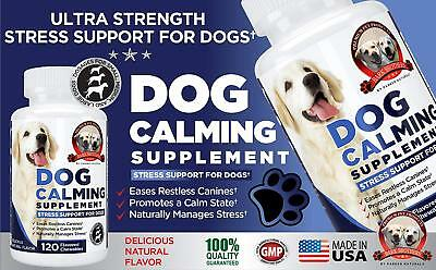Natural Dog Calming Formula Supplement Soothes Canine Anxiety, Helps Keep Dogs &