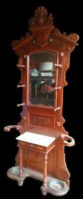 Antique hall tree umbrella stand Eastwood style marble top mirror