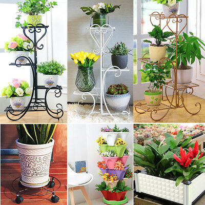 Indoor Outdoor Metal Plant Stand Rack, Plant Caddy Holder, Flower Herb Grow Box