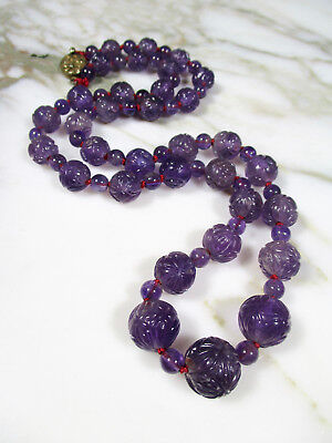 V Lg Antique Chinese Carved Amethyst Court Bead Necklace Filigree Silver Clasp