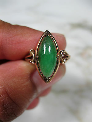 "Victorian Chinese ""a"" Jade Bright Green Jadeite Ring 14K Rose Gold Sz 4 3/4"