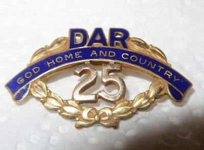 DAR Daughters of American Revolution 25 Year J E Caldwell  Pin God Home Country