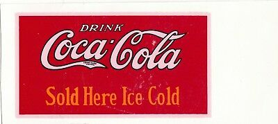 "DRINK COCA-COLA "" sold here ice cold "" VINTAGE 1940/50s  label/STICKER/decal"
