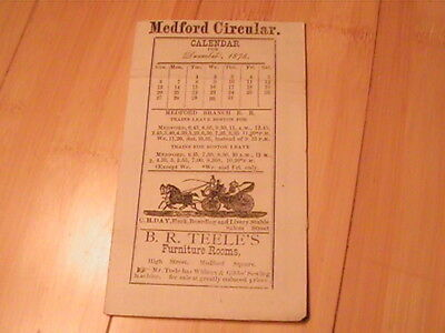 1874 Medford Branch Railroad Timetable For December Boston Massachusetts Rare