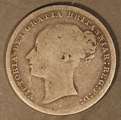 1879 Great Britain Shilling Circulated w/Die Number  ** Free U.S. Shipping **