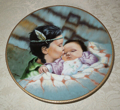 """Vintage KNOWLES PLATE """"A Time To Be Born"""" w/COA Indian Girl & Baby 1989"""