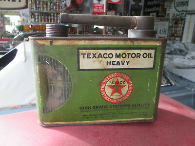 Original Early Texaco Black Tee Motor Oil Can Handi Grip 1927
