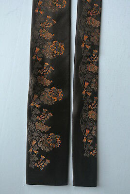 Vintage Marea natural silk tie Mens fashion accessory square end brown flowers