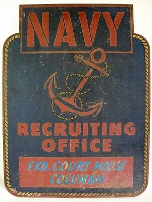 Authentic 1930s Navy Recruiting Office Sign Heavy Gauge Metal.