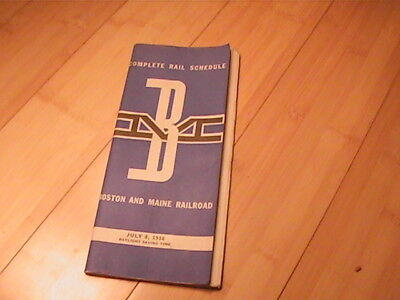 1956 Boston & Maine Railroad Timetable With Map