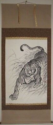 """Fierce Tiger Hand Painted Artist Signed Japanese Hanging Scroll 28"""" wide #HS001"""