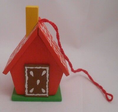 Steinbach Germany Little Red House Christmas Ornament EUC Gingerbread Star Heart