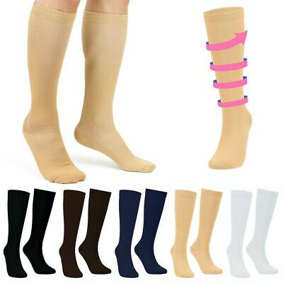 (3 Pairs) Unisex Compression Socks 20-30mmHg Graduated Support Mens Womens S-XXL