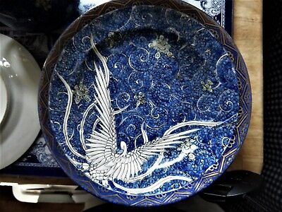 8 Antique Japanese Handpainted Dishes Blue W White Heron/egret