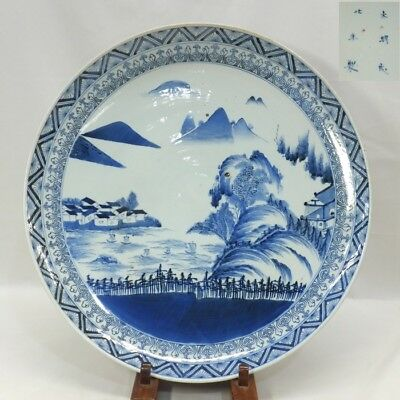 H319: Real Japanese OLD IMARI blue-and-white porcelain BIG plate with fine tone