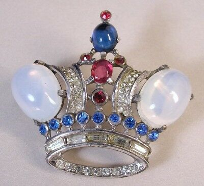 Vtg Trifari Large Crown Sterling Silver Alfred Philippe Jelly Belly Brooch Pin