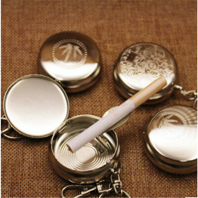 New Useful Portable Pocket Stainless Steel Round Cigarette Ashtray With Keychain