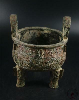 Very Large Old Chinese Bronze Made Tripod Incenser Burner Statue Collectibles