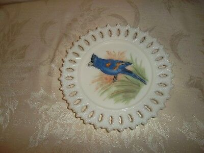 Vintage scalloped milk glass 8in. hand painted plate