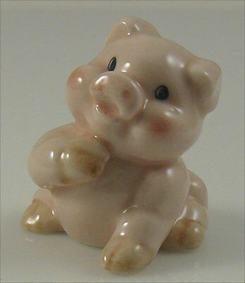 "Ceramic Pig Figurine Pink Hand on Chin Handpainted 1.3"" long 1.5"" tall Sitting"