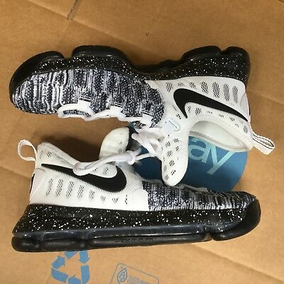 new style 29c09 4acf1 VNDS Nike Zoom KD 9 Oreo Black White Kevin Durant GS Basketball 855908 100  SZ 6Y